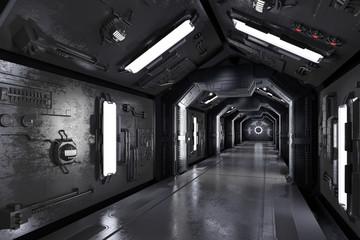 Gang innen durch ein dunkles Raumschiff