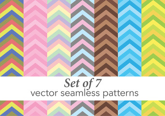 Set of zig zag seamless vector pattern