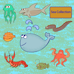 Set of marine animals. Sea collection. Vector illustration.