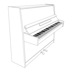 open piano contour with keyboard