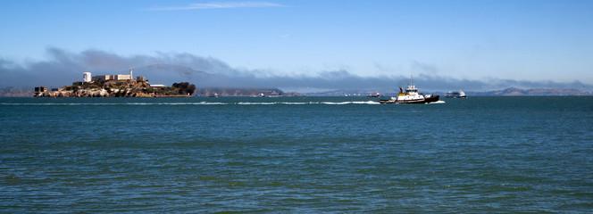 Boats Bay Water Tug Boat Ferry Alcatraz Island San Francisco