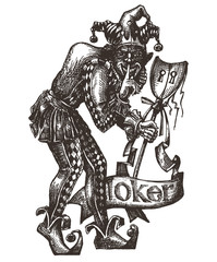 Joker vector logo design template. clown or theatre icon.