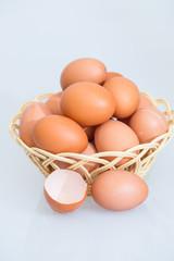 fresh egg and broken eggs isolated on white background