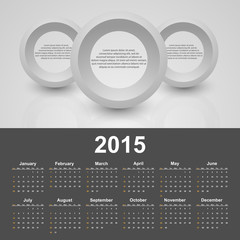 Calendar 2015 year. Template with business abstract background.