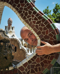 Spanish man in the Park Guell in Barcelona