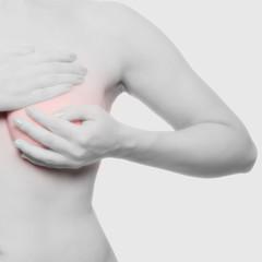 Brust abtasten - Brust rot markiert