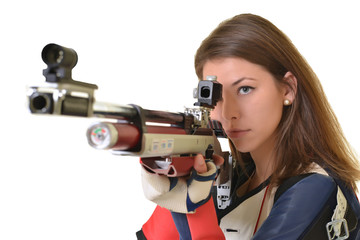 Woman training sport shooting