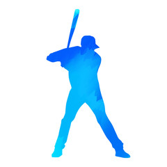 Blue baseball player