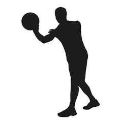 Basketball player passes. Vector sillhouette