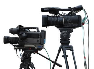 TV Professional studio digital video cameras isolated on white