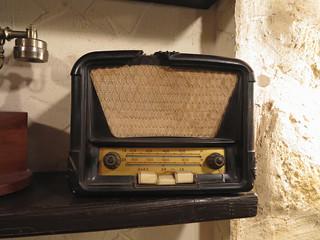 Vintage brown old radio receiver