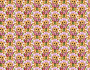 cute teddy bear with an armload of tulips pattern