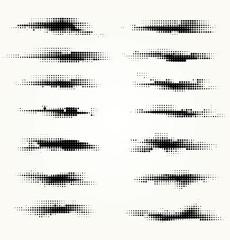 Set of horizontal spots halfton