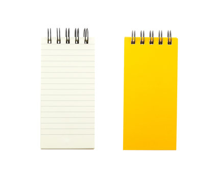 Yellow note book and blank paper