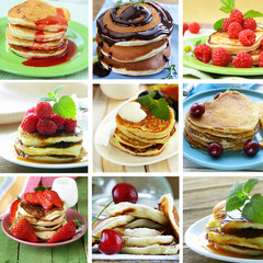 collage of different variant pancakes breakfast with berries