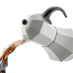 The falling moka pot with the spilled hot coffee. Freeze frame.