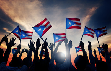 Group People Waving Flag Puerto Rico Concept