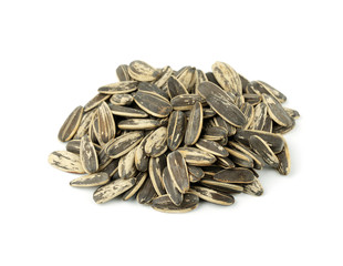 close-up of sunflower seeds isolated on white background