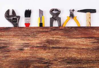Construction Equipment and copy space on the Wood background- St