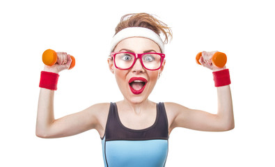 Funny sports woman with dumbbell