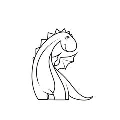 Coloring book: Cute little dragon