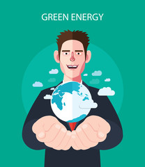 Flat character of green energy concept illustrations