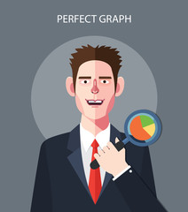Flat character of perfect graph concept illustrations