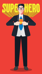 Flat character of hero businessman concept illustrations