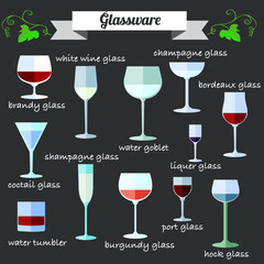 Wine Glassware flat design icons set.