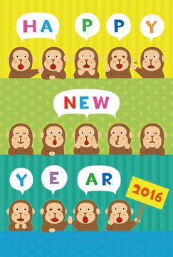年賀状2016 さる happy new year