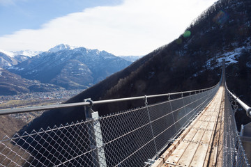 Mountain landscape with suspension bridge