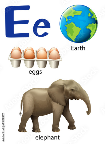 Letter E for Earth eggs and elephant