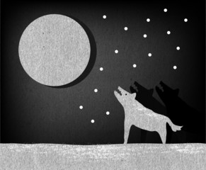 Wolves howling at the moon illustration