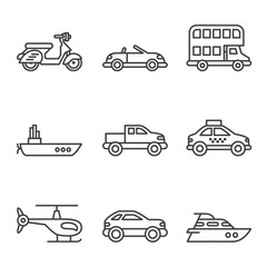 Transport icons, simple and thin line