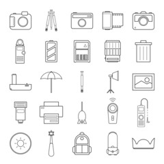 Camera and accessories icons set vector illustration