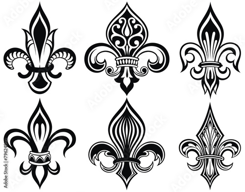 Fleur De Lys Vintage Design Icons Stock Image And Royalty Free