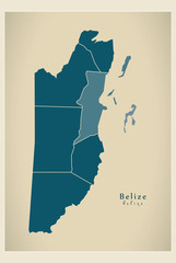 Modern Map - Belize with districts BZ