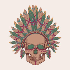 Vector illustration of human skull in native american headdress