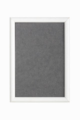 withe picture frame with gray cardboard matte, isolated on white