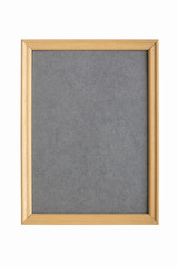 simple wooden picture frame with gray cardboard matte, isolated