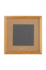 squared old picture frame with cardboard matte, isolated on whit