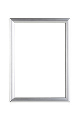 silver metallic picture frame, isolated on white
