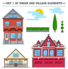 Vector flat illustration. Set of urban and village elements.