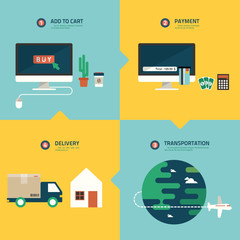 step for online shopping infographic