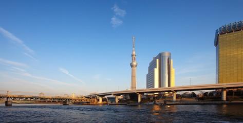 Tokyo sky tree and Sumida river at Tokyo city .