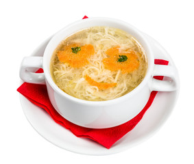 Restourant serving dish for child`s menu - noodles soup with fac