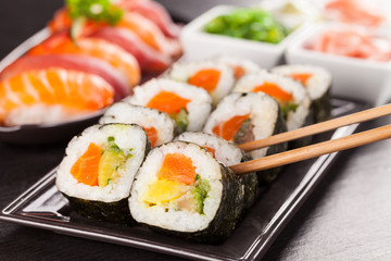 Foto op Aluminium Sushi bar Delicious sushi rolls