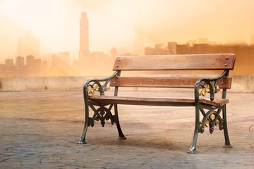 vintage color tone style of wooden bench antique with sunrise