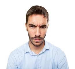 Close up of a furious young man