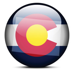 Map on flag button of USA Colorado State